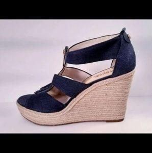Womens Michael Kors Wedge Sandals Blue 9.5